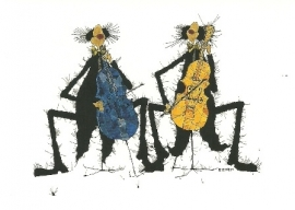 Celloduet in geel-blauw, Michael Ferner