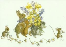 Haas, eekhoorn en egel met bloemen, Molly Brett