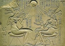 Echnaton, Nofretete en drie dochters, Egyptisch