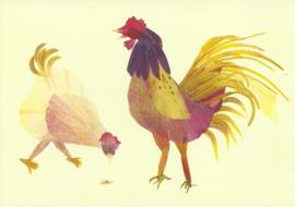 Haan en kip van bloesemblaadjes, Annemarie Zafrana