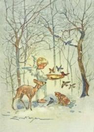 Engel voedert vogels in het bos, Erica von Kager