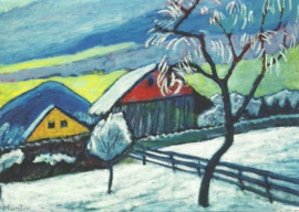 Boerderijen in winter, Gabriele Münter