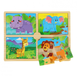 Houten puzzel safari (4 puzzels in 1)