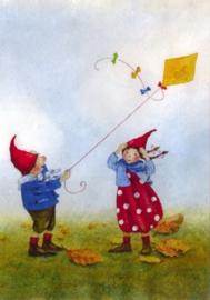 Pippa en Pelle in de herfstwind, Daniela Drescher, kaart