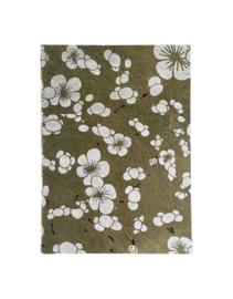 Olino Paperworks, Notebook met Japanse bloemenprint, Olijfgroen