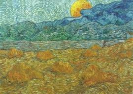 Landschap 's avonds bij opkomende maan, Vincent van Gogh