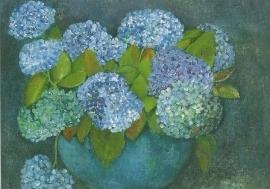 Hortensia's in blauwe vaas, Tomma Leckner