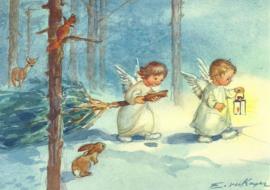 Engel met lantaarn en dennenboom, Erica von Kager