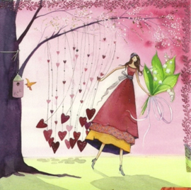 Vrouw met lelietjes-van-dalen en harten, Kristiana Heinemann