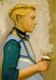 Meisje van Hiddensee met bloemboeketje, Elisabeth Büchsel