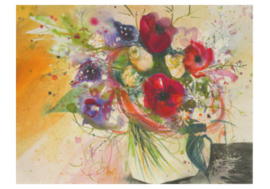 Boeket anemonen met veertjes, Sabine Waldmann-Brun