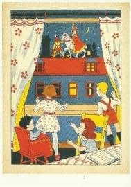 Kinderen zien Sint en Piet op het dak