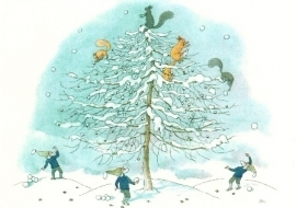 Eekhoorns gooien sneeuwballen, Ernst Kreidolf
