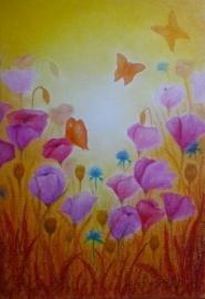 Klaprozen met vlinders 4, Sonja Schoppers A4