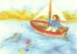 Augustus, Kind in zeilboot, maandkaart Ilona Bock