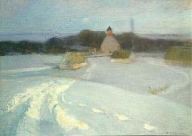 Winterlandschap met kerk, C. Vinnen