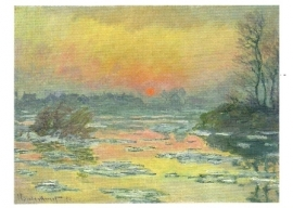Zonsondergang over de Seine in winter, Claude Monet