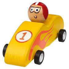 Houten race auto geel ( pullback, afm. 11,5 x 5 x 4,5 cm )