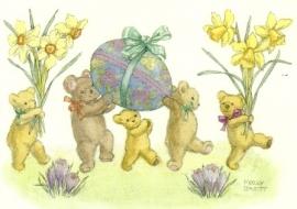 Vijf teddyberen met narcissen en paasei, Molly Brett