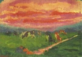Landschap met vrijend paartje, Henk Melgers