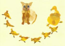 Poes en eend met kuikens van bloesemblaadjes, Annemarie Zafrana