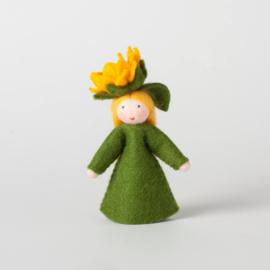 Zonnebloem, bloem op het hoofd