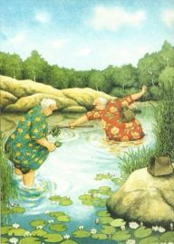 Vrouwen vissen flessenpost, Inge Löök