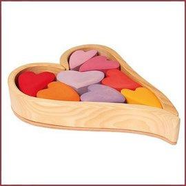 Houten hart pastel kleuren