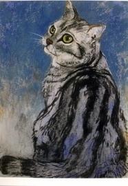 Zittende gestreepte kat, Loes Botman