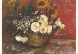 Rozen en zonnebloemen, Vincent van Gogh