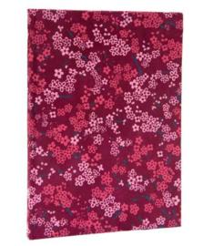 Olino Paperworks, Notebook met een omslag van loktapapier met bloesemprint, Rozerood