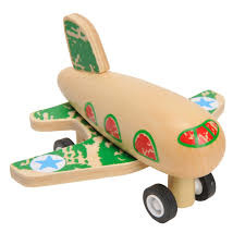 Houten vliegtuigje , pull back, groen