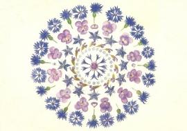 Blauwe bloemenmandala, Anna Lübsee