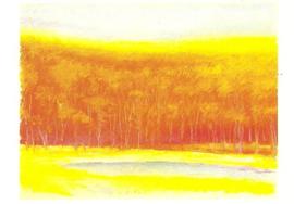 Waterplas in rood landschap, Wolf Kahn