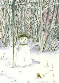 Sneeuwpop in winterbos, Elisabeth Heuberger