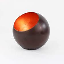 Waxinelichthouder Goldlicht Globe, brons/koper