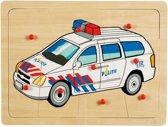 Houten noppenpuzzel politieauto