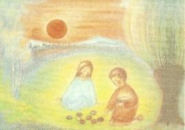April, Paas-zon, maandkaart Ruth Elsässer