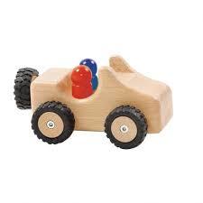 Houten jeep met rubberen banden