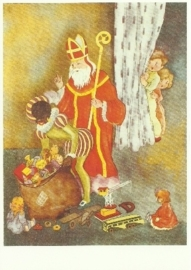 Sint en Piet met zak