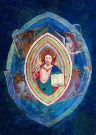 Christus met de vier evangelist-symbolen, Fresco 14e eeuw
