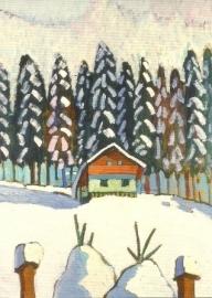 Huis met dennen in sneeuw, Gabriele Münter