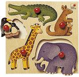 houten puzzel wilde dieren, 5 delen