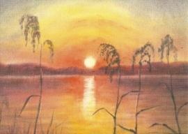 Zonsondergang aan de oever, Erika Hoffmann