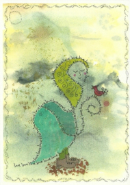Vrouw met vogel, Annamiek Nuesink