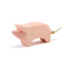 Roze varken kop hoog