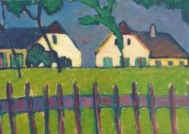 Huizen met houten hek, Gabriele Münter