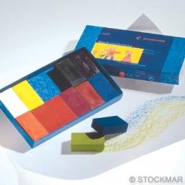 Bijenwas blokjes 12 kleuren in karton doosje