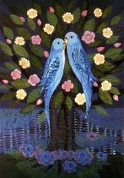 Verliefde vogels in bloeiende boom, Diana Khan