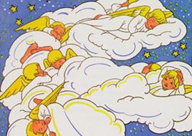 Slapende engeltjes op wolken, Rie Cramer